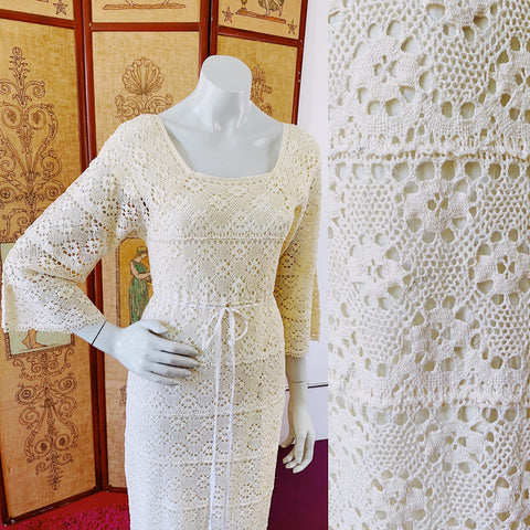 Incredible crochet vintage 1970s maxi dress perfect for your wedding.