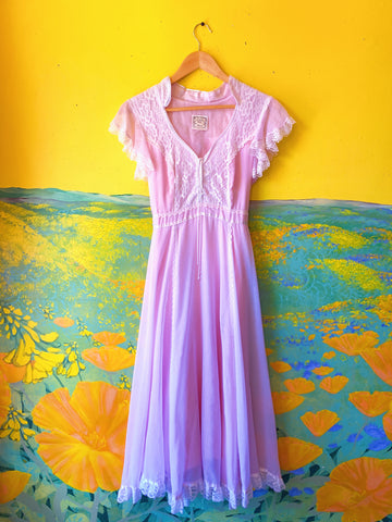 Pastel Pink Gunne Sax Short Sleeve Maxi Dress. Sold exclusively at Empress Vintage in Berkeley, CA.