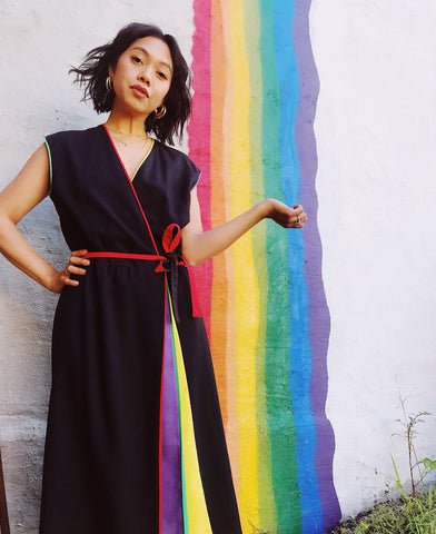 Amazing Rainbow Wrap Dress. Sold exclusively at Empress Vintage in Berkeley, CA.