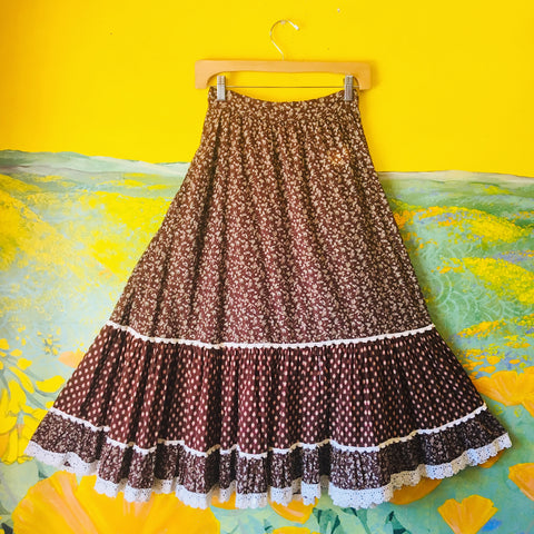 Earth Tone Gunne Sax 1970's Prairie Skirt