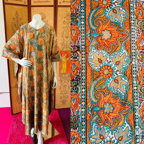 The best of California vintage clothing is available through Empress Vintage.  Locations by appointment in Berkeley and San Francisco.  Shop pieces like this block print caftan.