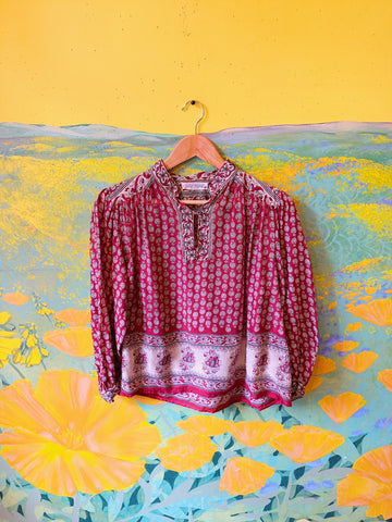 Red & Cream Floral Balloon Sleeve Indian Blouse. Sold exclusively at Empress Vintage in Berkeley, CA.