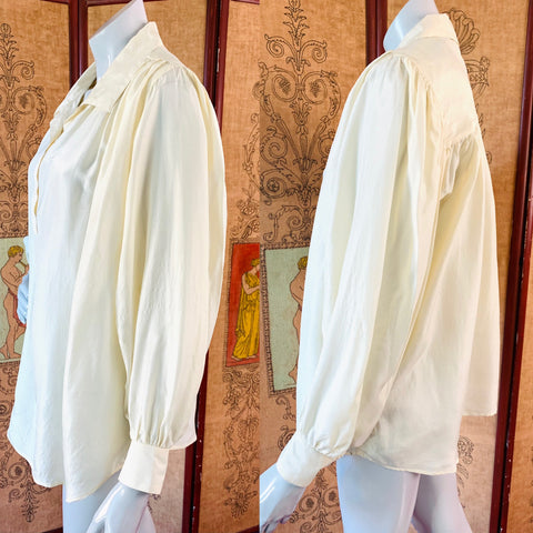 Poet Sleeve Ivory Silk Pullover Blouse