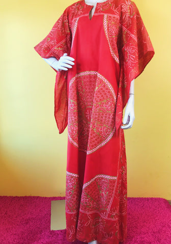 1970s Auburn Patterned Maxi Caftan Dress. Sold exclusively at Empress Vintage in Berkeley, CA.