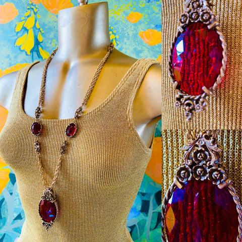 Ruby Red & Gold Costume Necklace