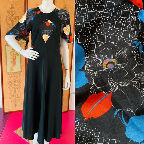 Black 1970s Semi-Sheer Paneled Angel Sleeve Maxi Dress