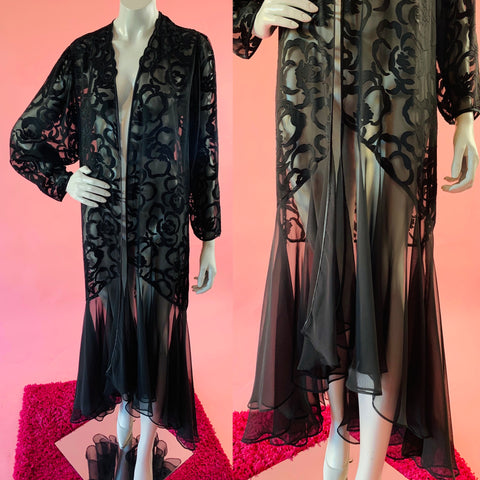 Black Burnout Sheer Trumpet Hem Duster