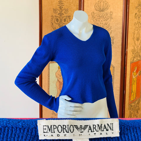Deep royal blue vintage sweater from the 80s/90s Emporio Armani label made in Italy.