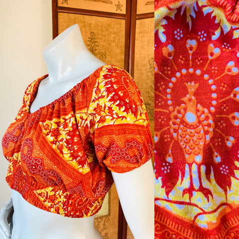 Peacock Print Firey Orange Crop Top