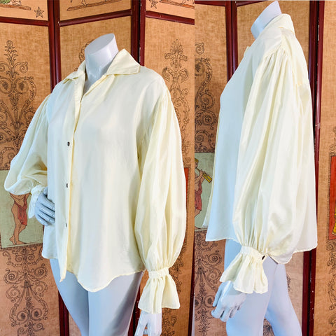 90s Express Poet Sleeve Button Up Silk Blouse