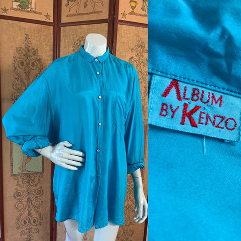 Kenzo Turquoise Silk French Cuff Button Up Blouse