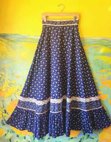 Blue Jasmine Flower Gunne Sax Full Length 1970s Prairie Skirt