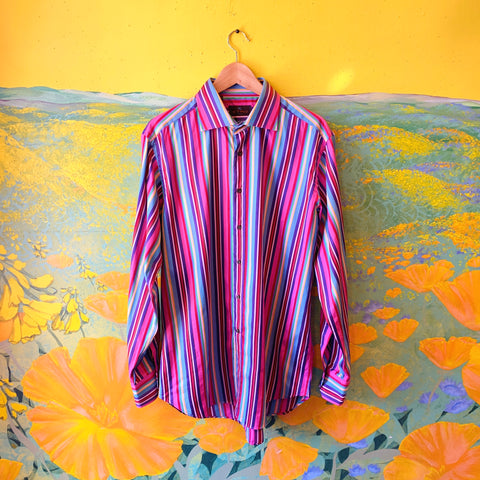 ETRO Rainbow Striped Button Up Men's Shirt. Sold exclusively at Empress Vintage in Berkeley, CA.