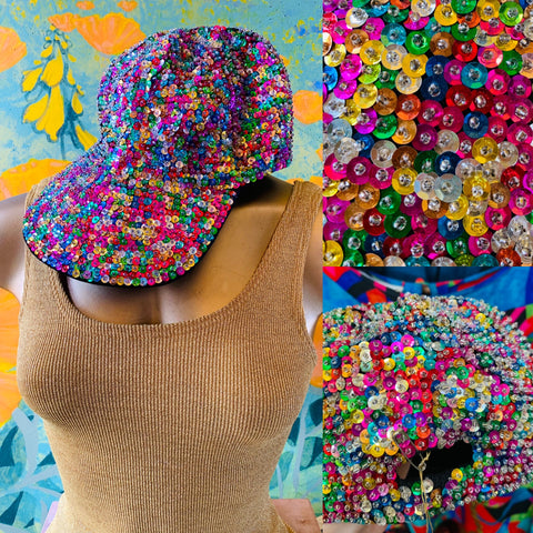 Rainbow Sequin Hat