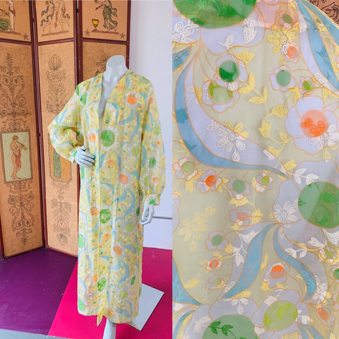 Psychedelic Sheer Flocked 1970s Duster