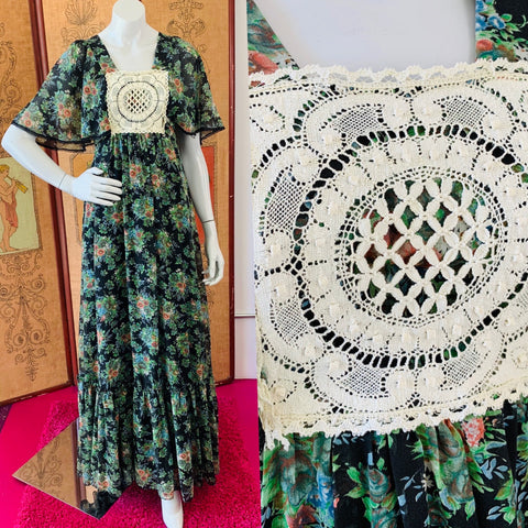 Epic bohemian 70s dramatic maxi gown with incredible sleeves.  The bohemian hippie dress of California dreams.  Available at Empress Vintage in Berkeley and San Francisco.