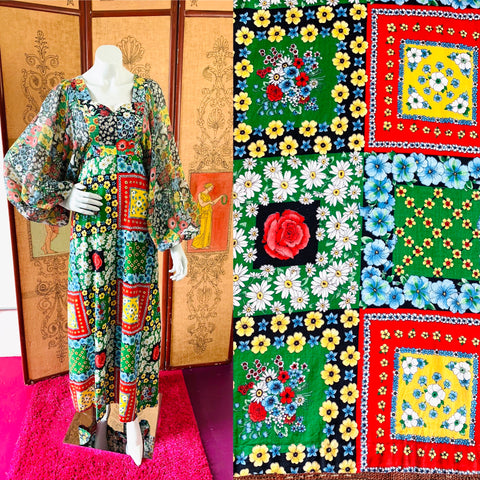 70s Flower Power Patchwork Print Balloon Sleeve Maxi Dress