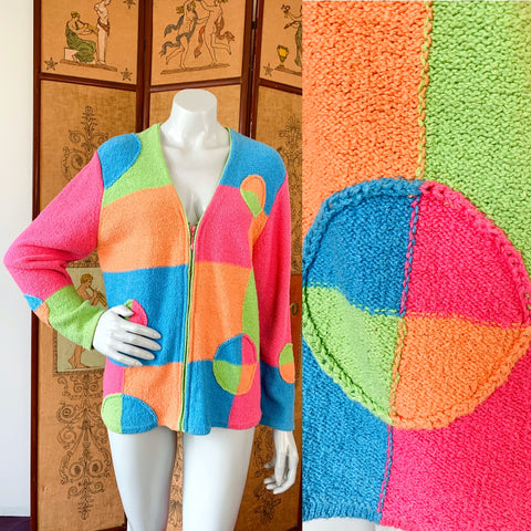 Rainbow sherbet neon colorblock 90s zip up cotton sweater from Empress Vintage!