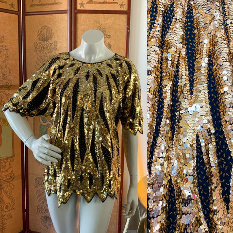 Gold Sequin & Beaded Semi Sheer Fairy Hem Top