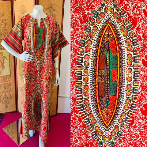 Angel Sleeve 70s Vibrant Block Print Caftan available at Empress Vintage in Berkeley and San Francisco.