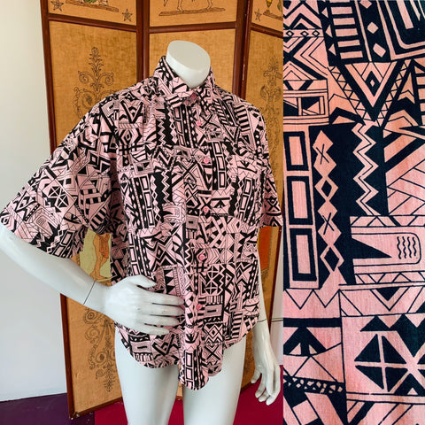 Wild Print Short Sleeve Hi Low Pink & Black Indian Cotton Button Up