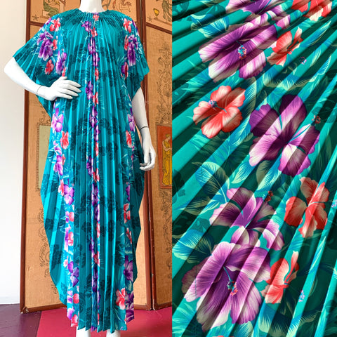 Tropical Green Crystal Pleated 70s Caftan