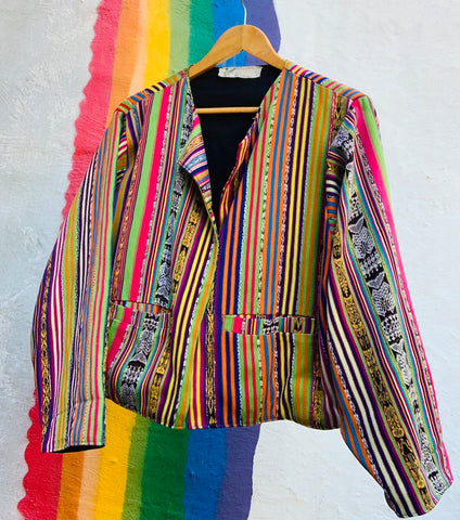 Guatemalan Rainbow Gold Metallic Cotton Jacket with Pockets