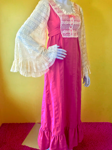 Incredible 1970s Lace Angel Sleeve Pink Maxi Dress ~ Sold Exclusively at Empress Vintage in Berkeley, CA.