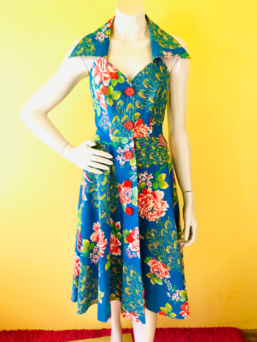 Incredible 50s Button Up Peacock Dress. Sold exclusively at Empress Vintage in Berkeley, CA.