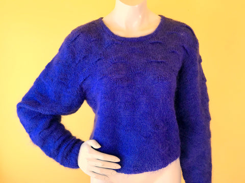 Christian Dior Textured Indigo Mohair Sweater. Sold exclusively at Empress Vintage in Berkeley, CA.