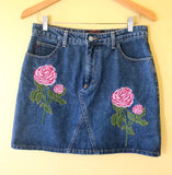 Fiorucci designer denim embroidered roses skirt!  Shop more vintage clothing in our boutique in Berkeley, California.