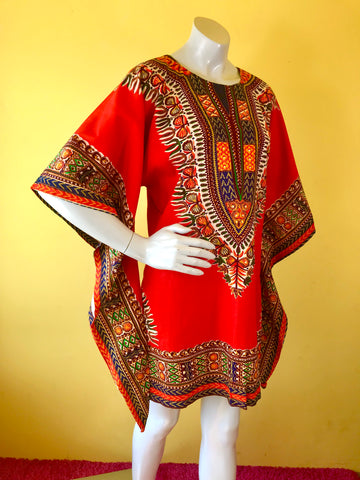 70s Red + Earth Tone Wizard Sleeve Mini Caftan. Sold exclusively at Empress Vintage in Berkeley, CA.