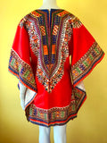 70s Red + Earth Tone Wizard Sleeve Mini Caftan