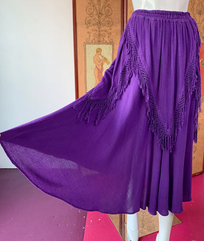 Purple Moroccan Fringe Skirt