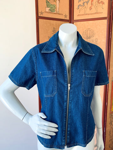 Bill Blass Zip Up Denim Short Sleeve Shirt