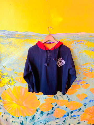 "80s Black & Yellow ""Work Wear"" Pullover by Maneuvers, sold exclusively at Empress Vintage in Berkeley, CA."