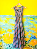 70s Multicolored Striped & Floral Deco Print Maxi Dress. Sold exclusively at Empress Vintage in Berkeley, CA.