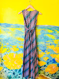 70s Multicolored Striped & Floral Deco Print Maxi Dress