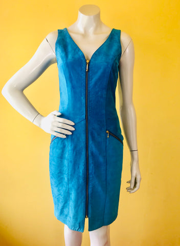 Cobalt Blue Suede Leather Dress. Sold exclusively at Empress Vintage in Berkeley, CA.