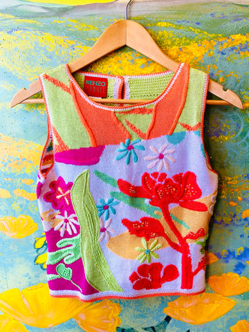 Vibrant Floral Print Knit Top. Sold exclusively at Empress Vintage in Berkeley, CA.