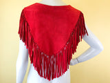 Red Suede Leather Fringe Mini Poncho with Concho Details