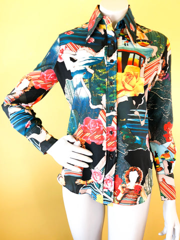 1970s Photo Print Trippy Button Up Blouse. Sold in excellent condition at Empress Vintage in Berkeley, CA.