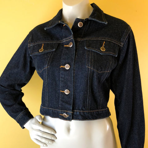 Todd Oldham Cropped Denim Jacket, sold exclusively at Empress Vintage in Berkeley, CA.