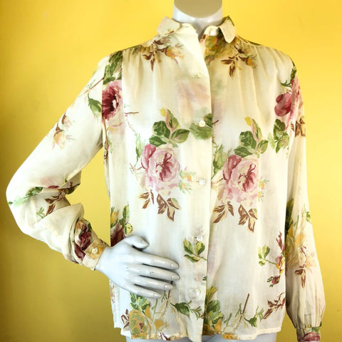 1970s Christian Dior Rose Print Blouse