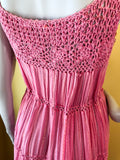 Indian Cotton Gauze Crochet Pink Dress with Rainbow Metallic Threads