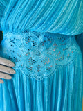 Turquoise Blue Cotton Gauze Balloon Sleeve Cut Out Grecian Dress