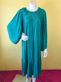 Green Turquoise Crochet Cotton Dress. Sold in excellent condition at Empress Vintage in Berkeley, CA.