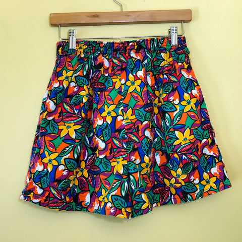 Floral Print High Waisted Cotton Shorts