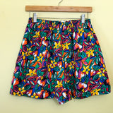 SOLD 80s Floral Print High Waisted Cotton Shorts
