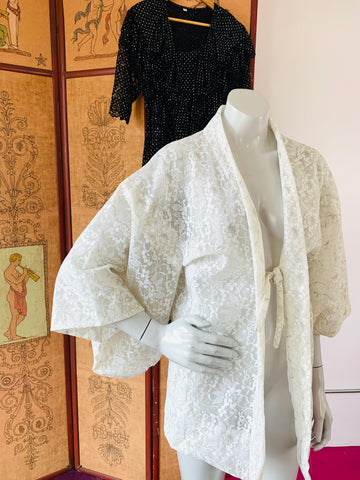 White Lace Metallic Silver Detail Summer Haori Kimono Jacket
